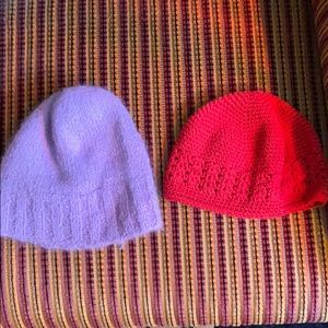 Two beanies purple and red unisex